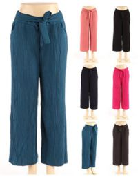 48 of Womens Textured Solid Color Pants With Belt