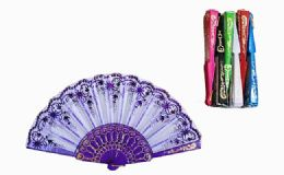 120 Units of Plastic Handheld Party Fan Assorted Colors - Novelty & Party Sunglasses