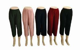 48 Units of Womens Loose Pleated Capri Pants Assorted Colors - Womens Pants