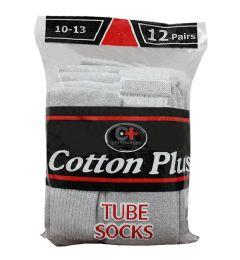 120 Units of Men's 12 Pair Pack Long Heather Grey Tube Socks, Size 10-13 - Mens Tube Sock