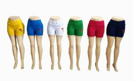 48 of Women Solid Color Short With Rose Assorted