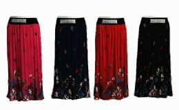 60 Units of Womens Summery Floral Pleated Skirt With Buttons - Womens Skirts