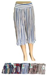 120 Units of Womens Multi Colored Striped Pleated Skirt - Womens Skirts