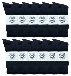 12 Units of Yacht & Smith King Size Men's Cotton Terry Cushioned Crew Socks Size 13-16 Navy - Big And Tall Mens Crew Socks