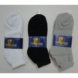 432 Units of 3pr Anklets 9-11 (solid Color)blk/gry/white - Men's Socks