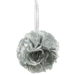 36 Units of Six Inch Pom Flower Silk Silver - Wedding & Anniversary