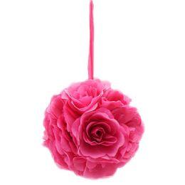 12 Units of Ten Inch Pom Flower Silk Hot Pink - Wedding & Anniversary
