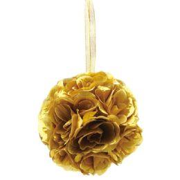 36 Units of Six Inch Pom Flower Gold - Wedding & Anniversary