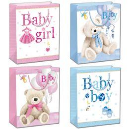144 Units of Baby Bag Glitter Medium - Gift Bags Baby