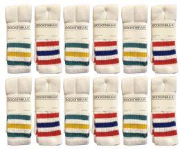 12 Units of Yacht & Smith Women's Cotton Striped Tube Socks, Referee Style Size 9-15 22 Inch - Women's Tube Sock