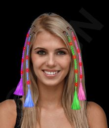 36 Wholesale Led Light Up Braided Hair Extensions - Assorted