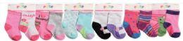 144 Units of Toddler Girls Crew Socks Size 6-12 Months - Girls Crew Socks