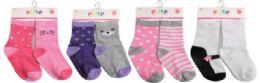 144 Units of Toddler Girls Crew Socks Size 12-24 Moths With Gripper Bottoms - Girls Crew Socks