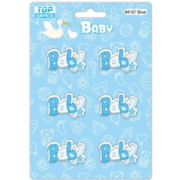 96 Wholesale Wooden Decoration Baby Blue Letter Baby
