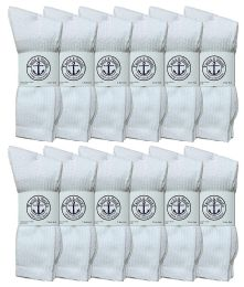 12 Units of Yacht & Smith King Size Men's Cotton Terry Cushion Crew Socks, Sock Size 13-16 White - Big And Tall Mens Crew Socks