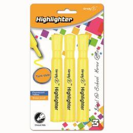 96 Bulk Three Count Jumbo Highlighter Yellow