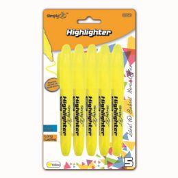 96 Bulk Five Piece Highlighter Yellow