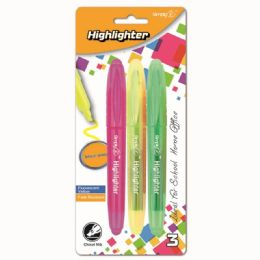 96 Bulk Three Count Highlighter Assorted Color