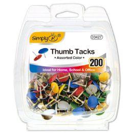 96 Units of Color Thumb Tack 200 Count - Bulletin Boards & Push Pins