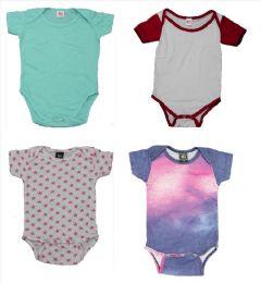 24 Wholesale Infant Assorted Design & Color Onesie, Size M