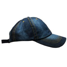 Yacht & Smith 4 Pack 100% Cotton Denim Baseball Cap With Gold Stitching.