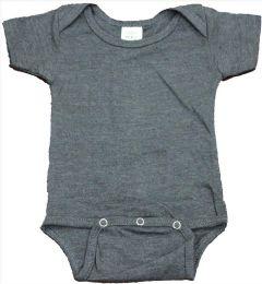 24 Wholesale Infant Dark Heather Grey Cotton Onesie, Size M