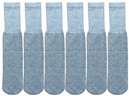 12 Units of Yacht & Smith Kids Solid Tube Socks Size 6-8 Gray - Boys Crew Sock
