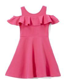 6 of Girls Fuchsia Soft And Stretchy Neoprene Dress, Size 7-14