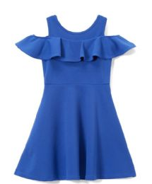 6 of Girls Royal Blue Soft And Stretchy Neoprene Dress, Size 7-14