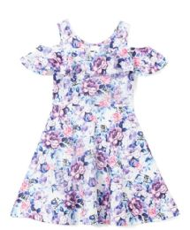 6 of Girls Lilac Flower Print Dress In Size 4-6x