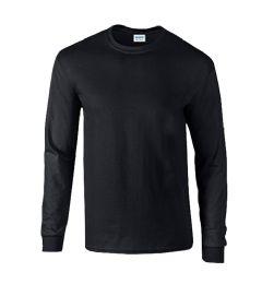 36 Units of Men's Gildan Irregular Black Long Sleeve T-Shirts, Size Medium - Mens T-Shirts
