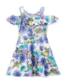 6 of Girls Teal Flower Print Dress In Size 7-14