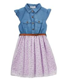 6 Units of Girls Lavendar Chambray Dress In Size 7-14 - Girls Dresses and Romper Sets