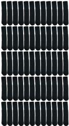 72 Units of Yacht & Smith Kids Black Solid Tube Socks Size 4-6 - Boys Crew Sock