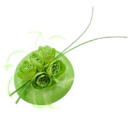 12 of Sinamay Fascinator With Flower And Feather Trim Green
