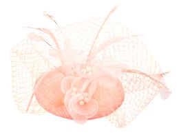 12 of Sinamay Fascinator With Flower And Feather Trim In Pink