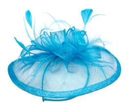 12 of Sinamay Fascinator With Flower Trim In Torquoise