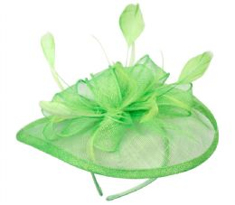 12 of Sinamay Fascinator With Flower Trim In Green