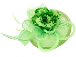 12 of Sinamay Fascinator With Flower And Feather Trim In Green