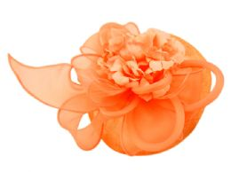 12 of Sinamay Fascinator With Flower And Feather Trim In Orange