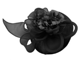 12 of Sinamay Fascinator With Flower And Feather Trim In Black