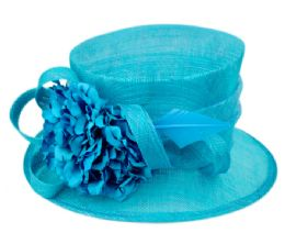 12 Wholesale Sinamay Fascinator With Flower And Feather Trim In Turquoise