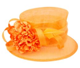 12 Wholesale Sinamay Fascinator With Flower And Feather Trim In Orange