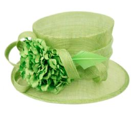 12 Wholesale Sinamay Fascinator With Flower And Feather Trim In Green