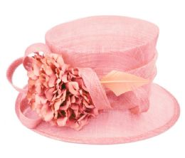 12 Wholesale Sinamay Fascinator With Flower And Feather Trim In Pink