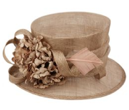 12 Wholesale Sinamay Fascinator With Flower And Feather Trim In Khaki