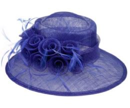 12 Wholesale Sinamay Fascinator With Flower And Feather Trim In Royal