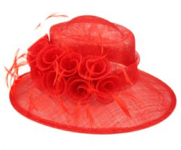 12 Wholesale Sinamay Fascinator With Flower And Feather Trim In Red