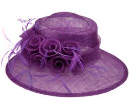12 Wholesale Sinamay Fascinator With Flower And Feather Trim In Lavender