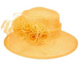 12 Wholesale Sinamay Fascinator With Flower And Feather Trim In Yellow